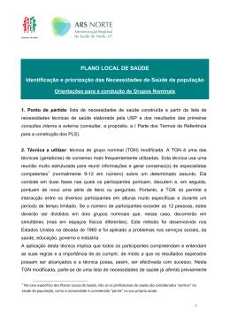 PLANO LOCAL DE SAÚDE Identificação e