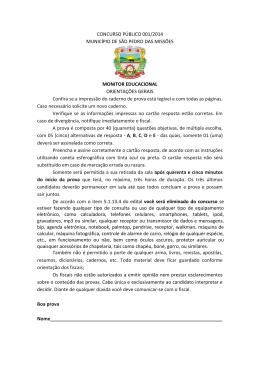 CONCURSO PÚBLICO 001/2014 MUNICÍPIO DE