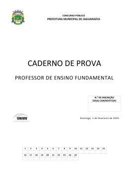 Professor de Ensino Fundamental - Prefeitura Mun. de Jaguariaíva