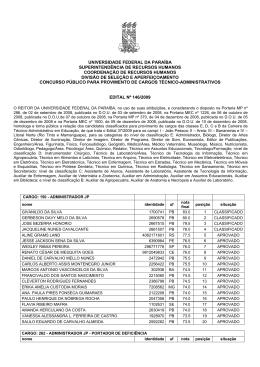 Edital de Homologação - Universidade Federal da Paraíba