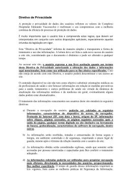 Política de Privacidade - Hospital Edmundo Vasconcelos