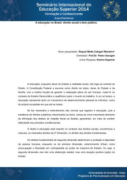 -1- A educação no Brasil: direito social e bem público.