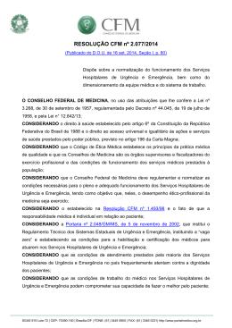 Resolução CFM 2077/2014 - Conselho Federal de Medicina