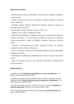 BIBLIOTECONOMIA - Biblioteconomia e ciência da informação