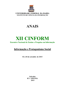 ANAIS DO XII CINFORM ANO 2015 - RI UFBA