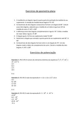 Exercícios de geometria plana Exercícios de potenciação