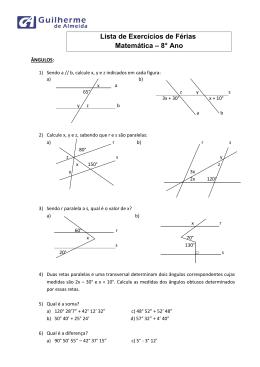 Lista de Exercícios de Férias Matemática – 8° Ano
