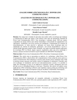 analise sobre atecnologia plc (power line communication)