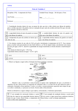 Ficha de Trabalho nº. Disciplina: CFQ – Componente de Física Ano