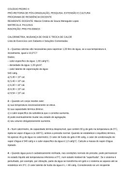 Lista de Exercícios de Calorimetria (Mudança de Fase)