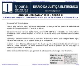 TJ-GO DIÁRIO DA JUSTIÇA ELETRÔNICO - EDIÇÃO 1619
