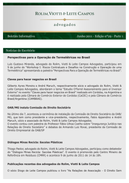 Notícias do Escritório - Rolim, Viotti & Leite Campos Advogados