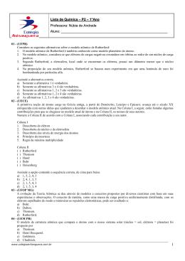 Lista de Química – P2 – 1°Ano Professora: Núbia de Andrade Aluno: