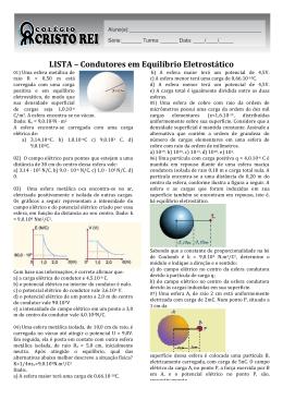 LISTA – Condutores em Equilíbrio Eletrostático