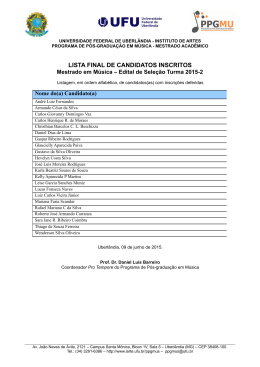 lista final de candidatos inscritos - Instituto de Artes