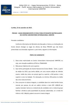 Edital 020-14 – Vagas Remanescentes 2º/2014 – Bolsa Integral