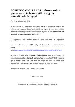 PRAES informa sobre pagamento Bolsa-Auxílio 2013 na