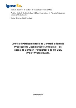 Relatório estudos de caso Comperj e CSA FINAL
