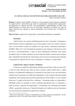 O CAPITAL SOCIAL NO CONTEXTO DAS ORGANIZAÇÕES