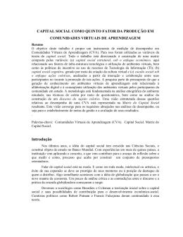 CAPITAL SOCIAL COMO QUINTO FATOR DA PRODUÇÃO EM
