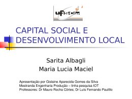 CAPITAL SOCIAL E DESENVOLVIMENTO LOCAL