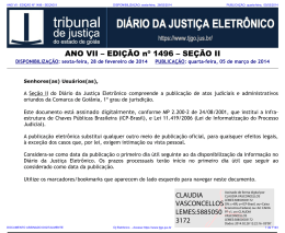 TJ-GO DIÁRIO DA JUSTIÇA ELETRÔNICO - EDIÇÃO 1496
