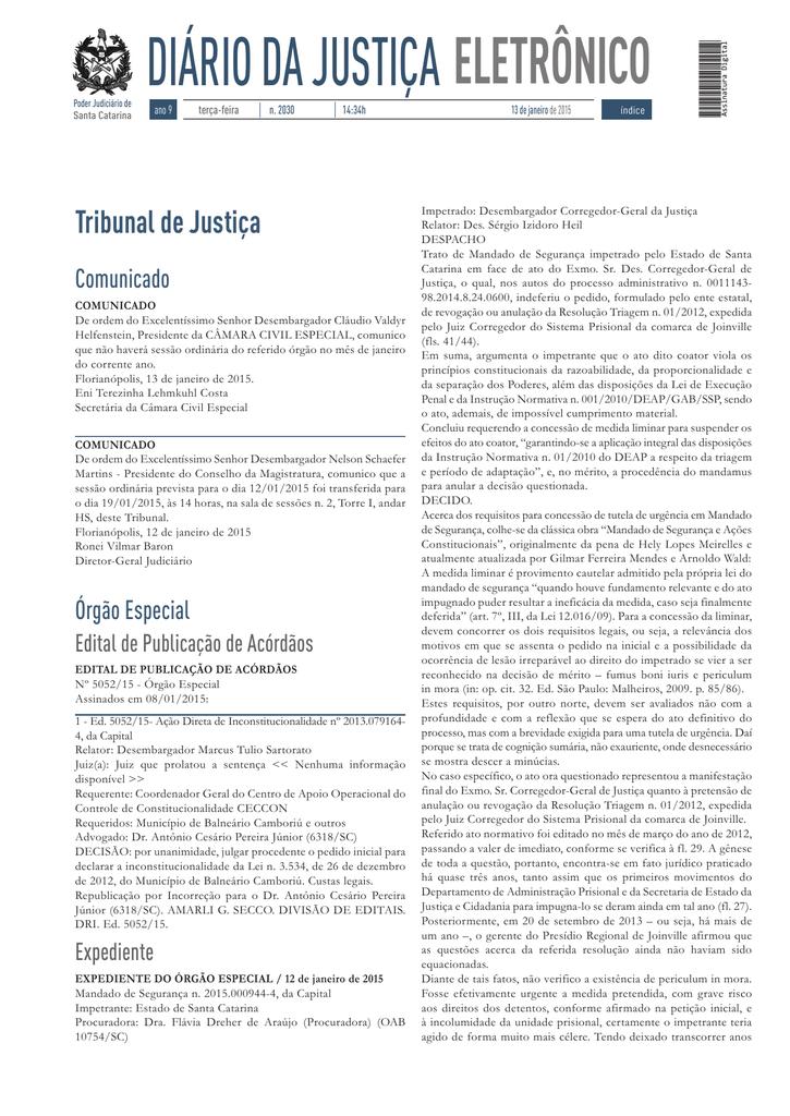 DIÁRIO DA JUSTIÇA - Tribunal de Justiça de Santa Catarina 55a8a526c9