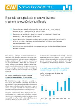 Expansão da capacidade produtiva favorece crescimento