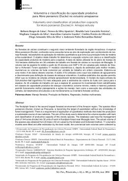 Volumetria e classificação da capacidade produtiva para Mora