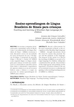 Ensino-aprendizagem de Língua Brasileira de Sinais - CCH