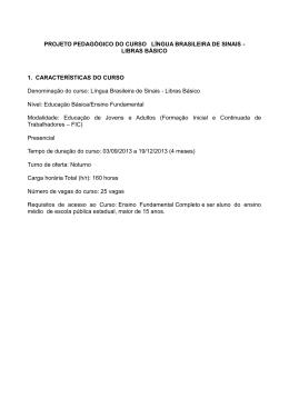 Projeto Pedagógico do curso Língua Brasileira de Sinais