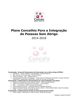 Plano Concelhio para a Integração de Pessoas sem Abrigo 2014