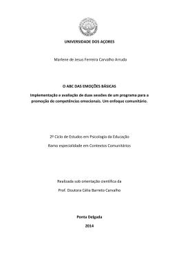 O ABC das emoções básicas - Repositório da Universidade dos