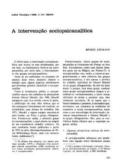 A intervenção soeiopsicanalítica