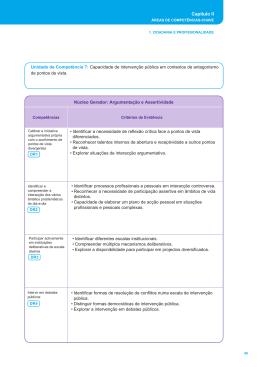 Capítulo II Unidade de Competência 7: Capacidade de intervenção