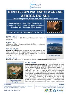 RÉVEILLON NA ESPETACULAR ÁFRICA DO SUL