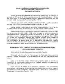 CONSTITUIÇÃO DA ORGANIZAÇÃO INTERNACIONAL DO