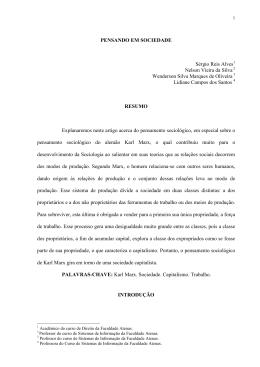 PENSAMENTO SOCIOLÓGICO DE KARL MARX