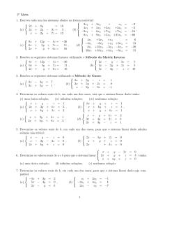 2a Lista 1. Escreva cada um dos sistemas abaixo na forma
