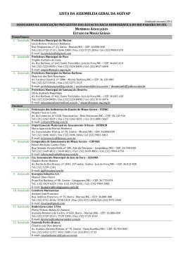 Composição Assembléia Geral AGEVAP - atualizada 21.05