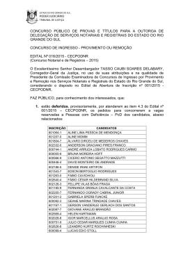 edital nº 016/2015: cecpodnr - Colégio Registral do Rio Grande do Sul