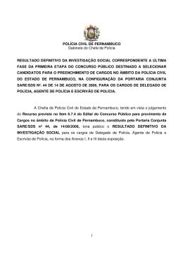 1 POLÍCIA CIVIL DE PERNAMBUCO Gabinete do Chefe de