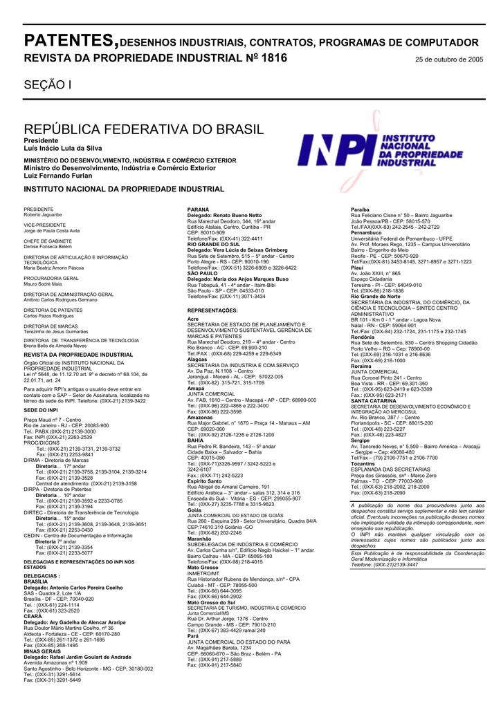 792c965129 DIRETORIA DE PATENTES - Revista da Propriedade Industrial