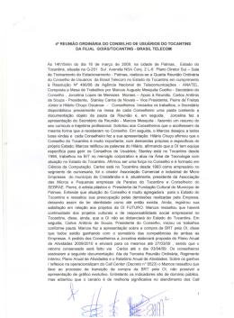 48 REUNIÃO ORDINÁRIA DO CONSELHO DE USUÁRIOS DO