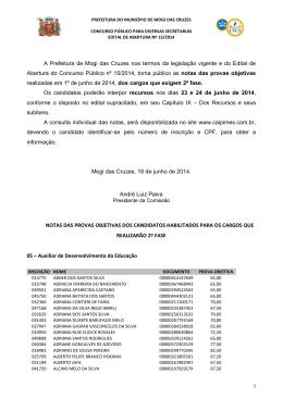 A Prefeitura de Mogi das Cruzes nos termos da legislação