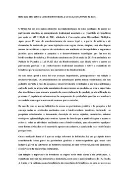 Lei da Biodiversidade, a Lei 13.123 de 20 maio de 2015