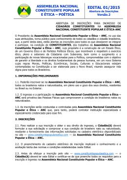 Edital de Abertura de Inscrições para ingresso na ANC V2