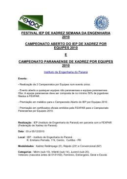 FOLDER - Festival IEP de Xadrez por Equipes