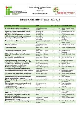 Lista de Minicursos – SECITEX 2015