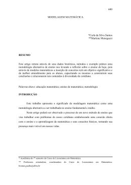 600 MODELAGEM MATEMÁTICA *Carla da Silva Santos